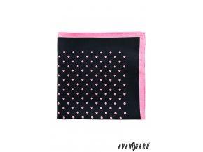 Černý kapesníček s tečkami a růžovým okrajem