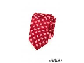 Červená slim kravata s bílými tečkami
