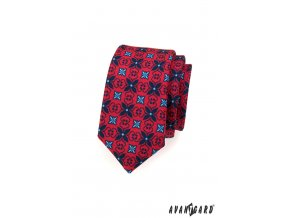 Červená slim kravata s tmavě modrým květinovým vzorem