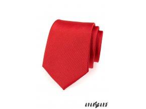 Červená matná kravata bez vzoru_