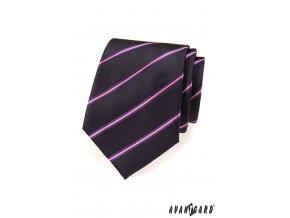 Velmi tmavě fialová kravata s šikmými růžovými proužky_