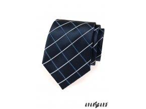 Tmavě modrá kravata s mřížovým vzorem