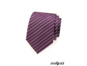 Fialová luxusní kravata s bílými proužky_