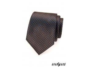 Hnědá kravata s jemnými světlými tečkami