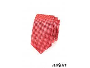 Červená slim kravata se vzorem šachovnice