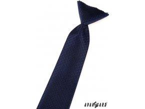 Tmavě modrá dětská kravata s mřížkou_