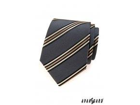 Šedá kravata s krémovými proužky_