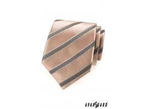 Béžová lesklá kravata s pruhy_