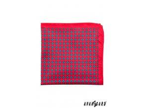 Červený kapesníček s drobnými modrými kvítky