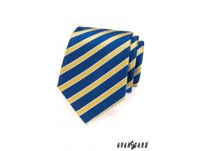 Modrá kravata s bíle olemovanými žlutými pruhy_