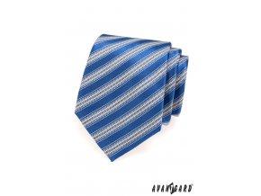 Modrá kravata s širokými světlými pruhy_