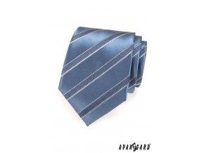 Modrá lesklá kravata s matnými pruhy_