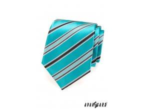 Tyrkysová lesklá kravata s matnými pruhy_