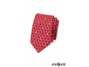 Červená slim kravata s kotvami