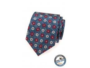 Modrá kravata s červenými a bílými květy