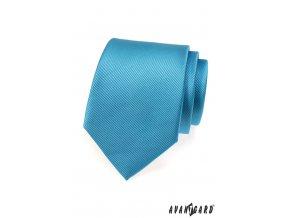 Modrá kravata s vyrytými proužky_