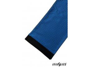Zářivě modrá pánská šála se vzorem a tmavým okrajem