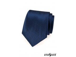 Tmavě modrá jemně lesklá kravata s mřížkou stejné barvy