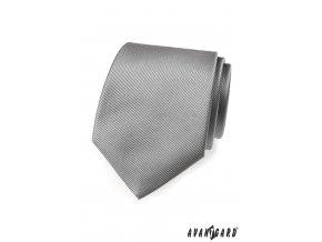 Světle šedá kravata s jemným rýhováním