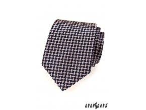 Velmi tmavě růžová kravata s růžovým trojrozměrným vzorem_