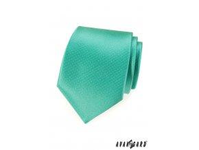 Sytě mátová jednobarevná kravata s jemným vzorkem_