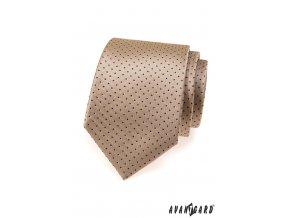 Béžová kravata s drobnými tmavými tečkami_