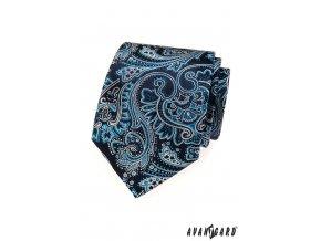 Tmavě modrá kravata se světle modrým vzorem