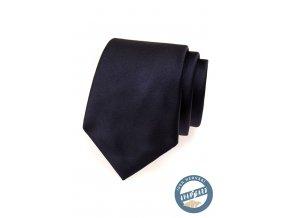 Velmi tmavě modrá hedvábná kravata v krabičce_