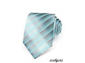 Tyrkysová luxusní proužkovaná kravata s vystínovaným efektem _